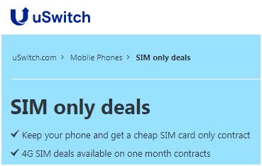 uSwitch Best SIM Only Deals